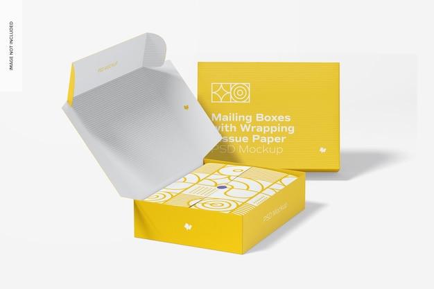 Pudełka pocztowe z makietą bibułki do pakowania, widok perspektywiczny