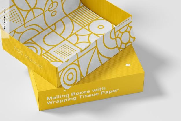 Pudełka pocztowe z makietą bibułki do pakowania, z bliska