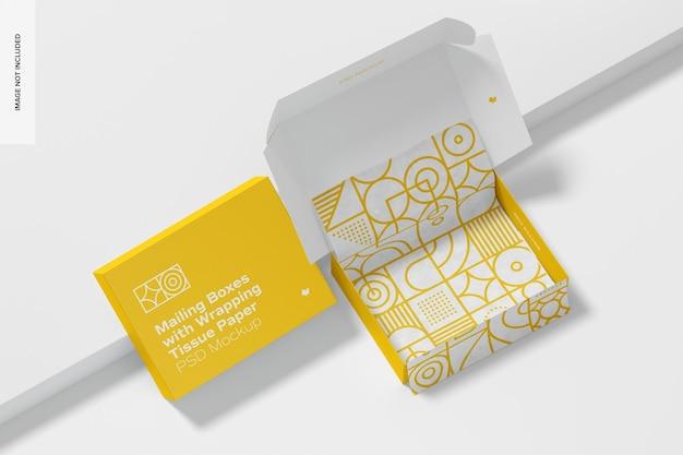 Pudełka pocztowe z makietą bibułki do pakowania