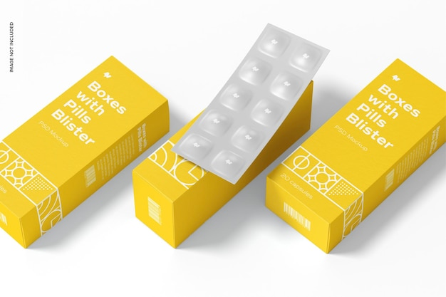 Pudełka z makietą zestawu blistrów tabletek
