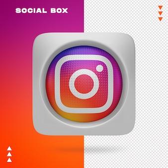Pudełko aplikacji instagram w renderowaniu 3d na białym tle