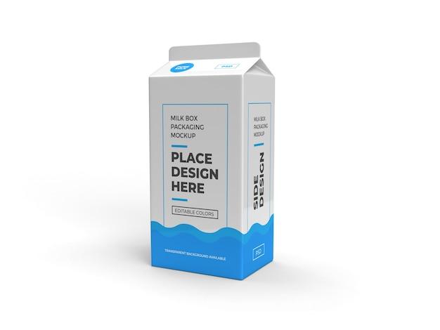 Pudełko mleka i projekt opakowania na napoje na białym tle