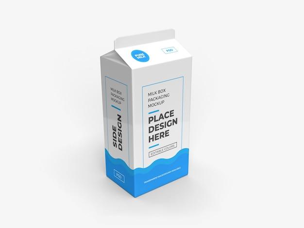 Pudełko Mleka I Projekt Opakowania Na Napoje Na Białym Tle Premium Psd