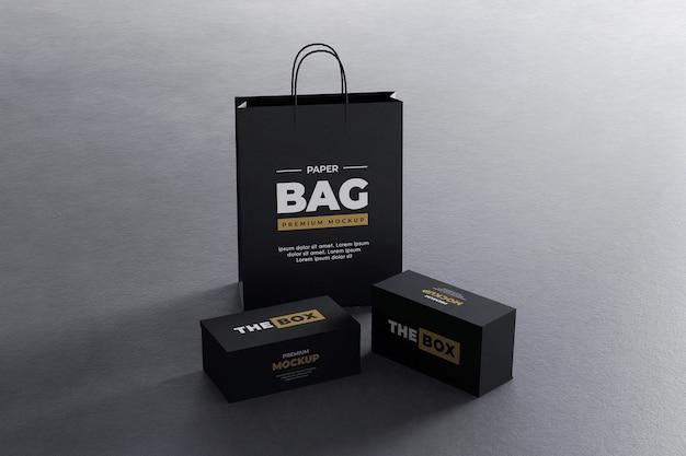 Pudełko na buty makieta czarne złoto realistyczne