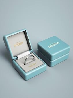 Pudełko na pierścionek logo makieta