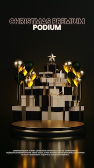 Pudełko na prezent choinka luksusowe podium