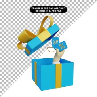 Pudełko na prezent renderowania 3d i ręka trzyma tag rabatu