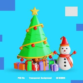 Pudełko na prezent z drzewem i bałwankiem 3d render 2