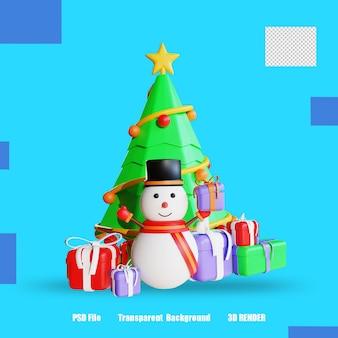 Pudełko na prezent z drzewem i bałwankiem 3d render 4