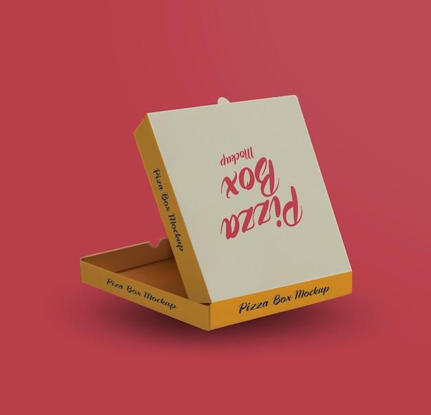 Pudełko po pizzy z makieta cienia na białym tle