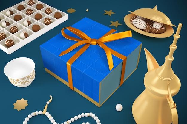 Pudełko prezentowe eid renderowania w makiecie projektu 3d