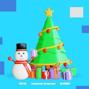 Pudełko z drzewem i bałwankiem 3d render 3