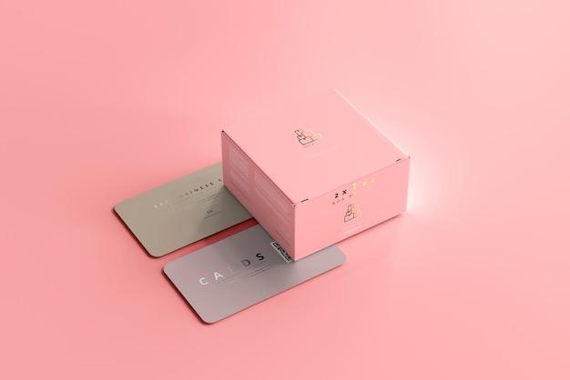 Pudełko z makietą wizytówek