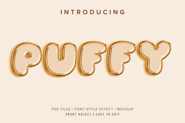 Puffy balonowa makieta efektu stylu czcionki 3d