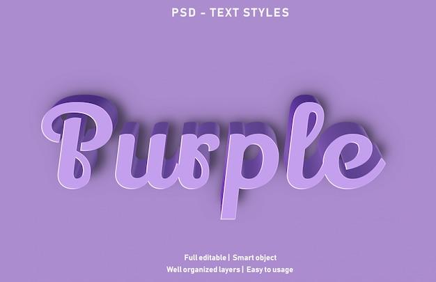 Purpurowe efekty tekstowe styl premium edytowalny`