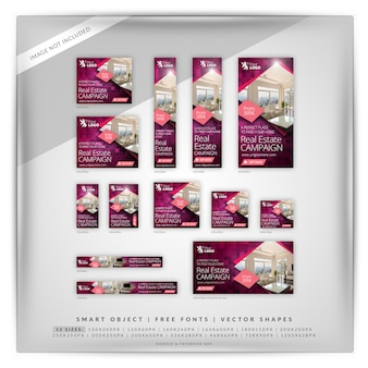 Purpurowy real estate google banner set