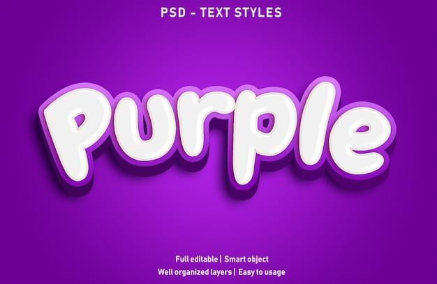 Purpurowy styl efektów tekstowych edytowalny psd