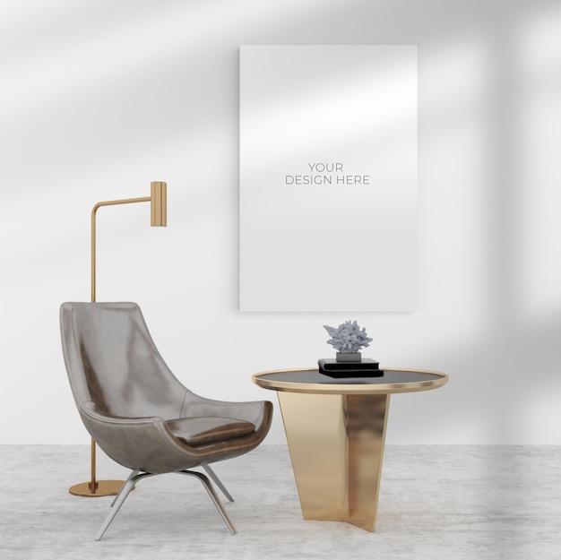 Pusta makieta plakatu w pobliżu dekoracji sofy i lampy