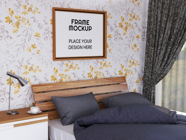 Pusta makieta ramki na zdjęcia w sypialni