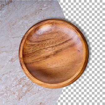 Pusta płyta z drewna gumowego na białym tle na przezroczystość