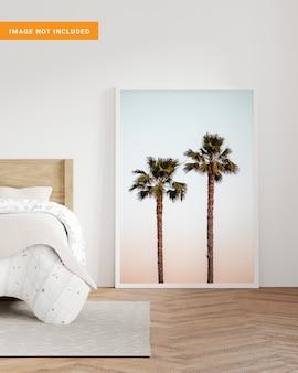 Pusta ramka do makiety w białej sypialni w renderowaniu 3d