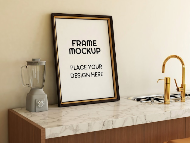 Pusta ramka na zdjęcia makieta w kuchni