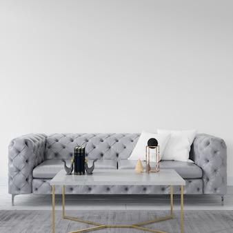 Pusta ściana z elegancką sofą