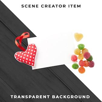 Puste kartkę z życzeniami z sercem zabawki dla zakochanych. na białym tle ze ścieżką przycinającą.