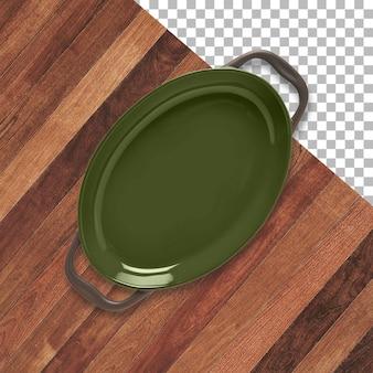 Puste kolorowe ceramiczne tace do serwowania lub pieczenia na białym tle nad przezroczystym tłem.