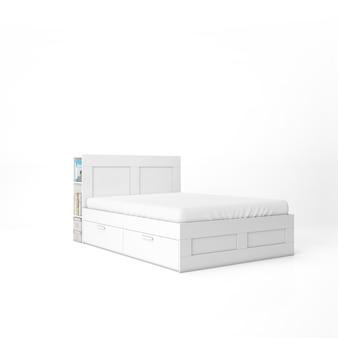 Puste łóżko z białą makietą materaca