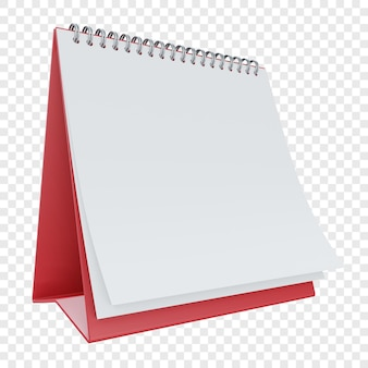 Puste lub puste biurko czerwony kalendarz na białym tle
