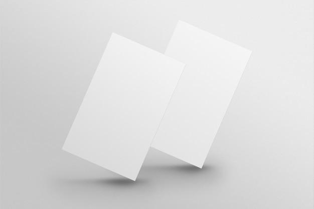 Puste wizytówki makieta psd w białym odcieniu z widokiem z przodu iz tyłu