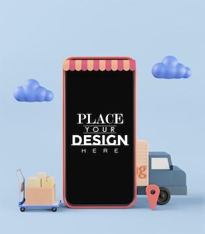 Pusty ekran inteligentny telefon makieta komputera. koncepcja dostawy