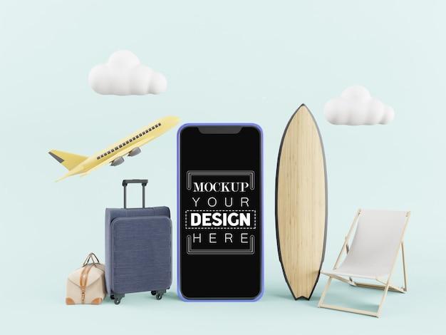 Pusty ekran inteligentny telefon makieta komputera. koncepcja podróży