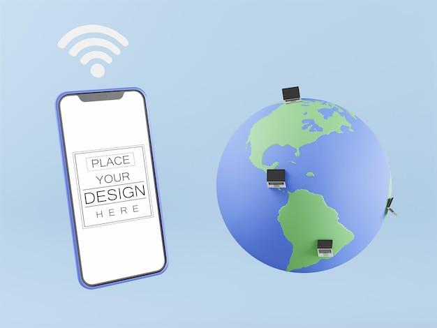 Pusty ekran inteligentny telefon makieta komputera