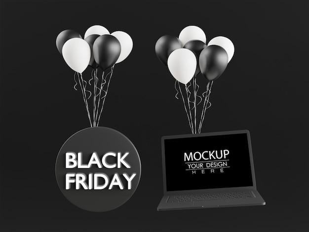 Pusty ekran komputer przenośny na czarny piątek