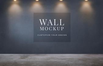 Pusty pokój z makietą ciemnoszare ściany