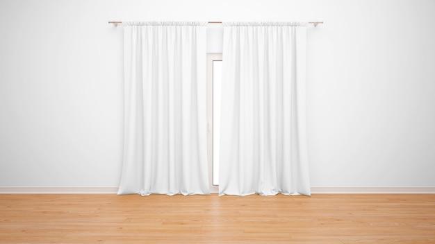 Pusty pokój z oknem i białymi zasłonami, parkiet