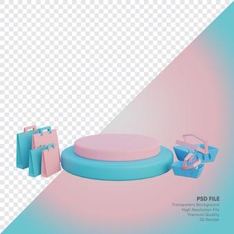Pusty sklep internetowy z podium dla produktów renderowanych w 3d