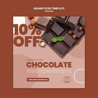 Pyszna czekoladowa ulotka w kwadracie