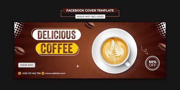 Pyszna kawa w mediach społecznościowych i szablon postu na facebooku