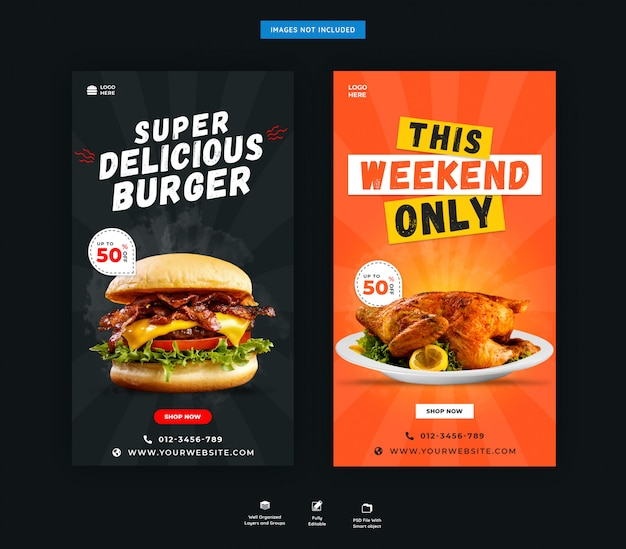 Pyszne jedzenie instagram historie banner szablon psd premium
