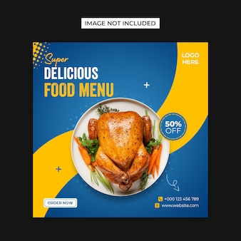 Pyszne jedzenie menu media społecznościowe i szablon post instagram