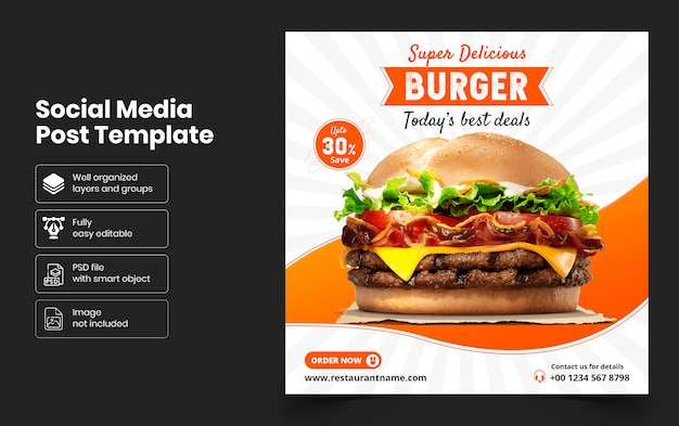 Pyszne jedzenie sprzedaż szablon transparent mediów społecznościowych