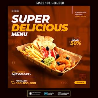Pyszne Jedzenie Szablon Mediów Społecznościowych Premium Psd