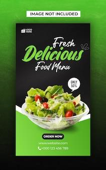 Pyszne jedzenie w mediach społecznościowych i szablon postu na instagramie