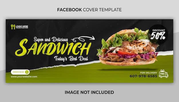 Pyszne menu kanapkowe okładka na facebooka i szablon banera internetowego