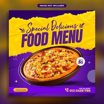Pyszne menu z jedzeniem i szablon projektu baneru promocyjnego w mediach społecznościowych