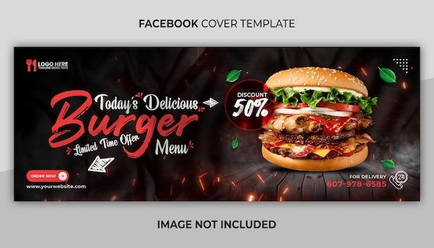 Pyszne menu z jedzeniem na okładkę na facebooku i szablon banera internetowego