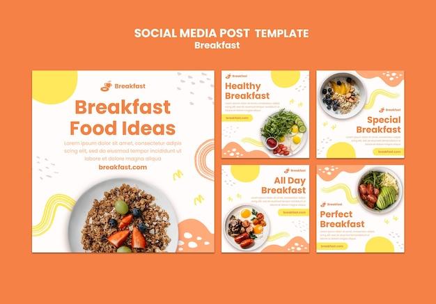 Pyszne śniadanie post w mediach społecznościowych